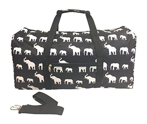 "Price comparison product image 22"" Sports Duffle / School Dance Cheer Bag (B/W Elephant)"
