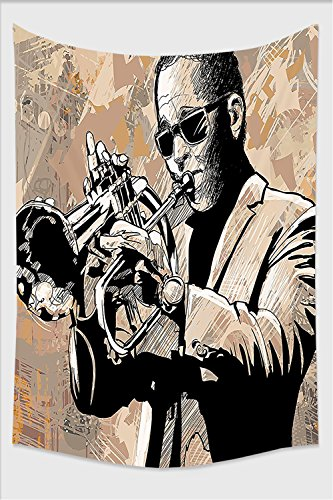 Nalahome-Jazz Music Decor Grunge Style Illustration of an African Musician with Sunglasses Playing Trumpet Beige Black Tapestry Wall Hanging Wall Tapestries 10L x 8W - Dragon Phase Sunglasses