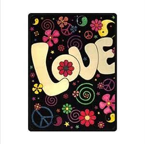 Beautiful Graphic Design Peace Love Custom Fleece Blanket 58 x 80 (Large)