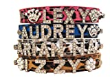 Bling Stuff For Fun TM - Animal Print PU Leather Personalized Rhinestone Bling Dog Name Collar for Large, Medium, Small Dogs and Puppies (Brown, L: Neck Size 12.8''-16.2'')
