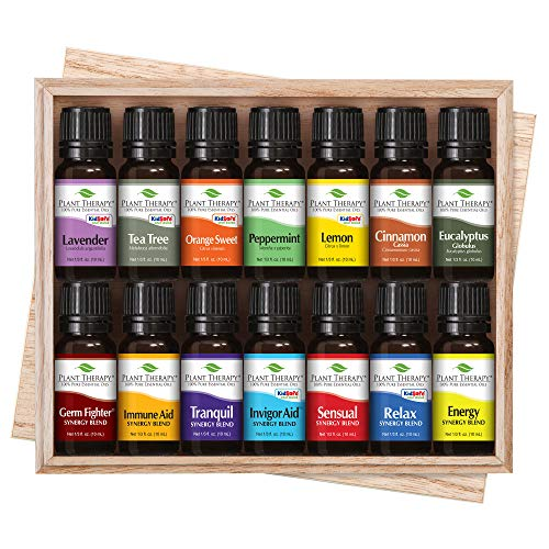 Plant Therapy 7 & 7 Essential Oils Set | 7 Single Oils: Lavender, Peppermint & More, 7 Synergy Blends in A Wooden Box | 100% Pure, Undiluted, Natural Aromatherapy, Therapeutic ()