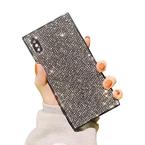Luxury Bling Square Phone Case for iPhone 7 Plus 8 Plus Sparkle Glitter Trunk Air Corner Shockproof Back Cover Casing (Silver, iPhone 7Plus/8Plus 5.5'')