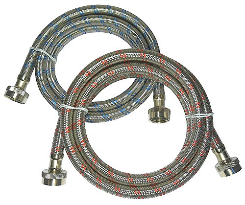 Premium Stainless Steel Washing Machine Hoses, 6 Ft Burst Proof (2 Pack) Red and Blue Striped Water Connection Inlet Supply Lines - Lead (Hot Water Inlet Hose)
