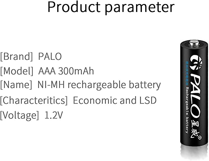 PALO 8 Pack AA 600mAh Batteries and 8 Pack AAA 300mah Rechargeable Ni-MHBattery with 4 Bay AA AAA Battery Charger
