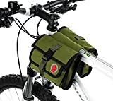 Cycling Bike Handlebar Bag Bicycle Frame Double Pannier Front Tube Canvas Bag-Army Green