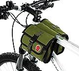 Cycling Bike Handlebar Bag Bicycle Frame Double Pannier Front Tube Canvas Bag-Army Green