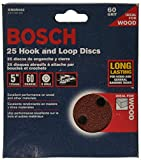 Bosch SR5R062 25-Piece 60 Grit 5 In. 8 Hole Hook-And-Loop Sanding Discs