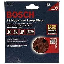 Bosch SR5R062 Random Orbit Sander Hook and Loop 8 Hole Disc 5-Inch 60 Grit Sand Paper, Red, 25-Pack