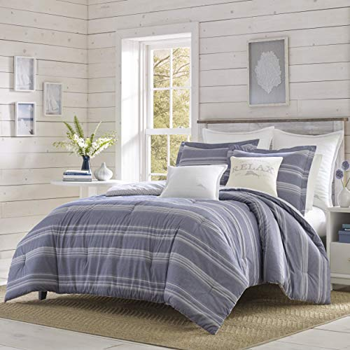 Tommy Bahama Chambray Stripe Comforter Set, King, Blue (Bedding Sets Tommy)