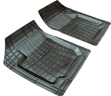 ZPV 200912 Heavy Duty Floor Liner - Black - Two (2) Piece Set For Cars, Trucks and SUVs - All Weather Floor Mats - Recyclable
