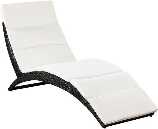 vidaXL Tumbona Plegable de Jardín con Cojín Incluido de Poli Ratán Sintético Negro Asiento de Exterior Hamaca Silla de Jardín Material Tipo Mimbre: Amazon.es: Hogar