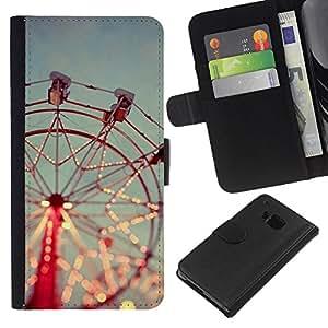 KingStore / Leather Etui en cuir / HTC One M9 / Feliz va Alrededor Red Sky;