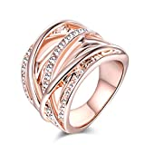 TEMEGO Intertwined Crossover Statement Ring - 14k Rose Gold Pave CZ Wide Wedding Band,Size 8