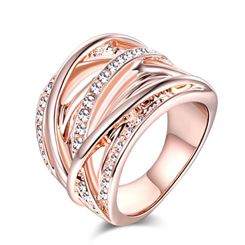 TEMEGO Intertwined Rings for Women, Rose Gold CZ Pave Statement Crisscross Cocktail Wide Ring, Size 9
