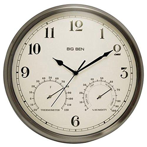 Westclox 49832 Indoor/outdoor Clock with Temperature & Humidity Gauges, Silver
