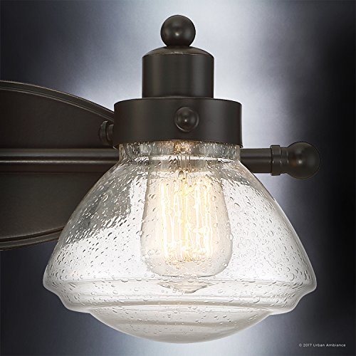 Luxury Transitional Bathroom Vanity Light, Medium Size: 8''H x 17.75''W, with Rustic Style Elements, Oil Rubbed Parisian Bronze Finish and Seeded Schoolhouse Glass, UQL2651 by Urban Ambiance by Urban Ambiance (Image #5)