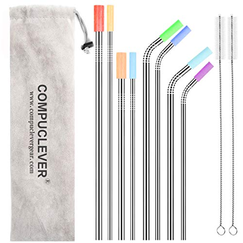 (Stainless Steel Straws Set of 8 BPA Free Reusable Drinking Straws for 30oz 20oz Tumbler 10.5'' 8.5'' Diameter 0.24'' 0.31'' with 8 Silicone Tips 2 Cleaning Brushes and Pouch(4 Bent 4 Straight))