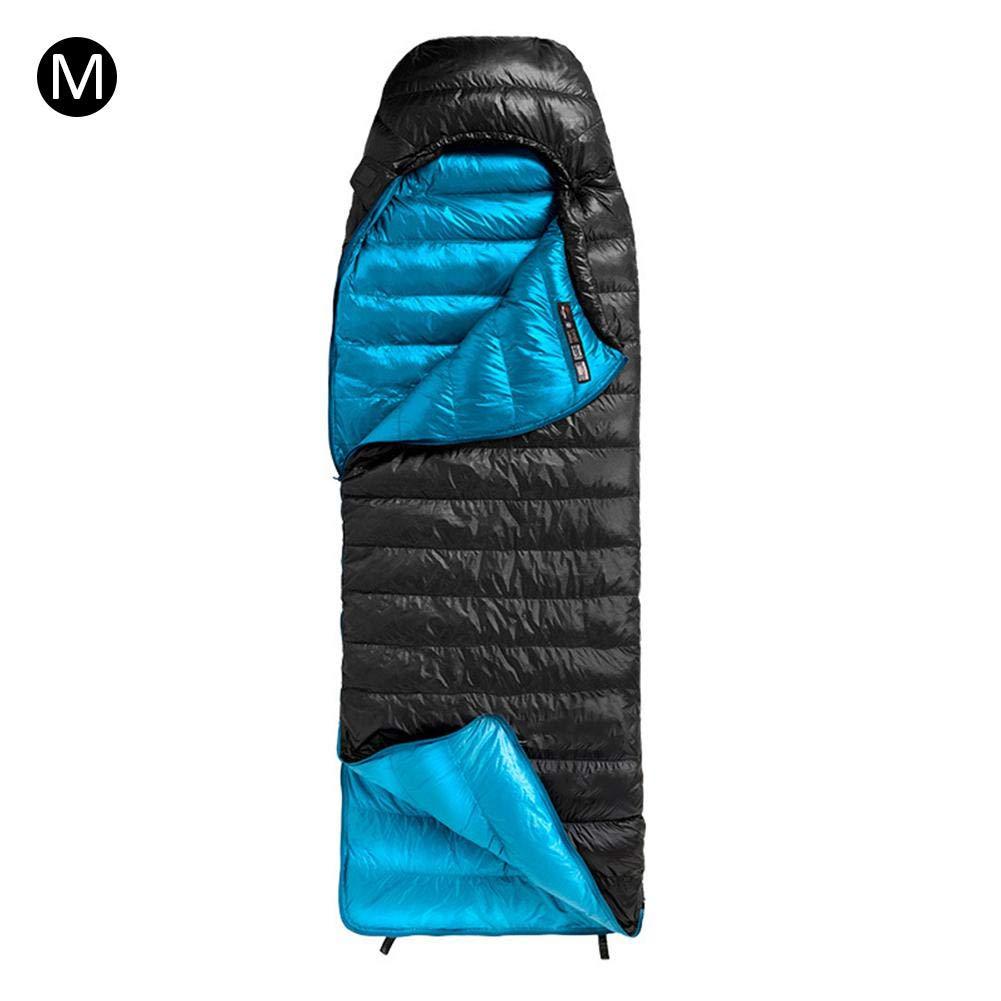 寝袋 シュラフ 防水 封筒型 大人 屋外 車中泊 室内 登山 遠足 コンパクト収納 軽量 冬キャンプ用 保温ダウンシングル 持ち運びが易い寝袋 B07KPSG5FS ナイトブラックM