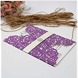 50pcs Rose Flowers Laser Cut Belly Band Wedding Invitations All in one Invite (Purple)