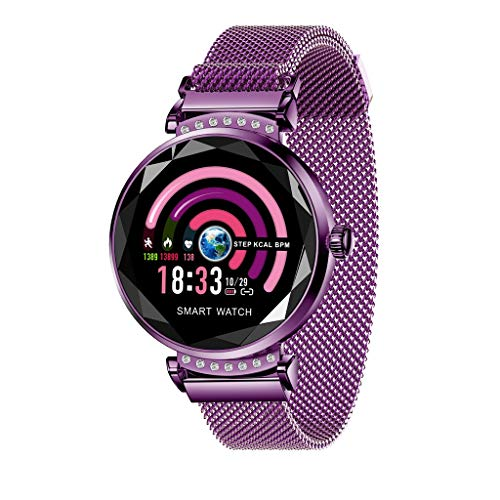 Sandistore Smart Watch for Android/iOS Phones,Round Bluetooth Smartwatch 1.04 inch Colour TFT Screen,Metal case,IP67 Water Proof,Several Sports Mode, Medication,Remote Control Camera B (Purple)