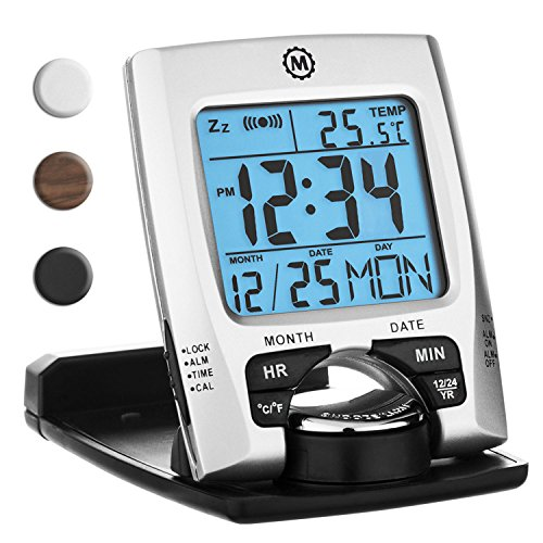 Marathon CL030023 Travel Alarm Clock with Calendar & Temperature - Battery Included - Rotating Alarm