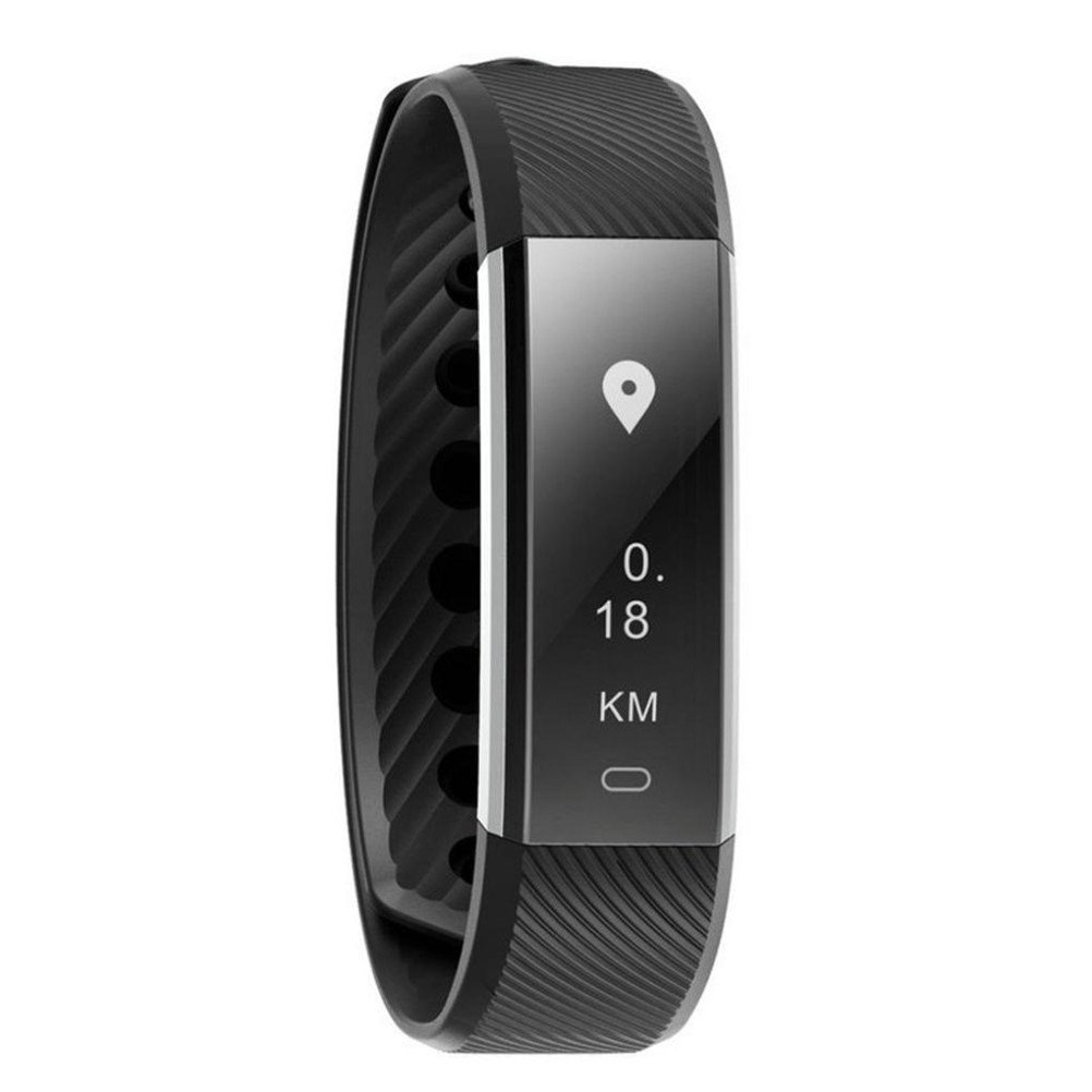 Elaco Smart Bluetooth Bracelet Heart rate Pedometer Fitness Tracker for Android (Black)