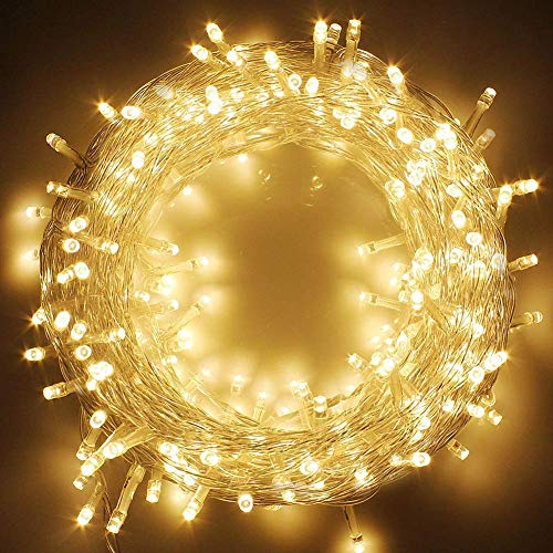 Twinkle Star 66FT 200 LED Indoor String Lights Warm White, Plug In String Lights 8 Modes Waterproof for Outdoor Christmas Wedding Party Bedroom (Warm Led White String Lights)