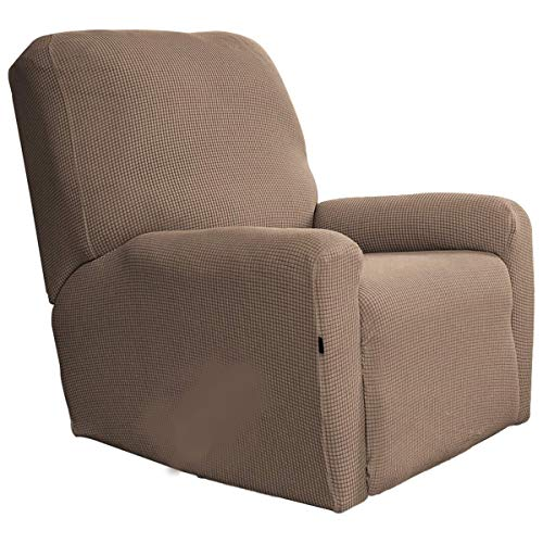Linens And More Modern Cover/Protector-Collection Stretch Recliner Slipcovers,Sofa Covers,1Piece Furniture Protector with Elastic Bottom,Straps,Couch Shield with Pocket, (Recliner) (Camel)
