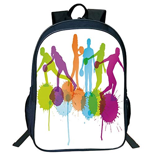 3D Print Design Black Double-Deck Rucksack,Bowling Party Decorations,Player Silhouettes Throwing Ball Big Color Splatters Activity Fun Decorative,Multicolor,for Kids,Personalized Design.15.7