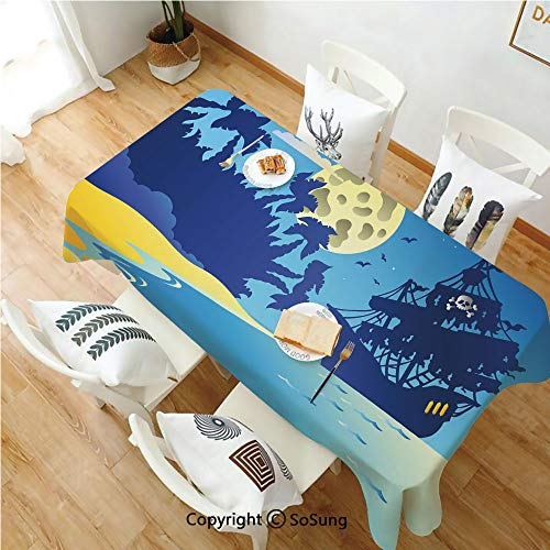 Pirate Rectangle Polyester Tablecloth,Night Seascape Pirate Ship Full Moon Filibuster Adventure Cartoon Decorative,Dining Room Kitchen Rectangle Table Cover,60W X 84L inches,Dark Blue Light Blue Yello -