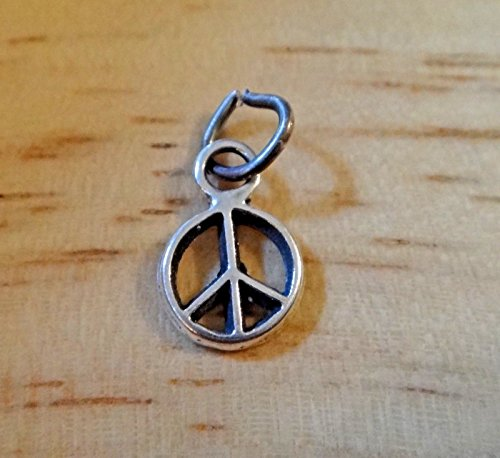 Sterling Silver Tiny 8mm Round Cut Out Peace Sign Charm Jewelry Making Supply, Pendant, Sterling Charm, Bracelet, Beads, DIY Crafting and Other by Wholesale Charms