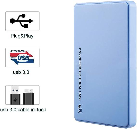 USB 3.0外付けモバイルドライブ、2.5''HDD/SSD外付けハードドライブ、MacおよびPCデスクトップ用デスクトップ外付けハードドライブ、500GB / 1TB / 2TB,ブルー,500GB