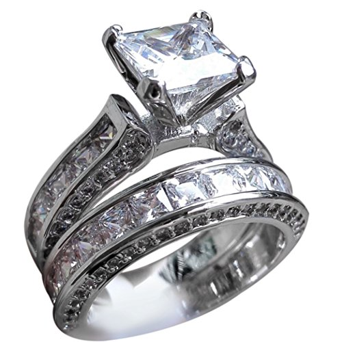 Diamond Ring, Vintage Women Men Couple Ring Set for Valentine's Day Gift By Litetao, Wedding Engagement Jewelry (B-7) -