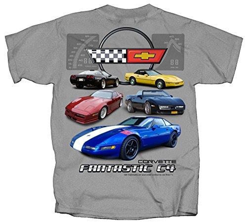 Joe Blow Men's Corvette Fantastic C4 Generation T-Shirt, Medium, Sport Grey