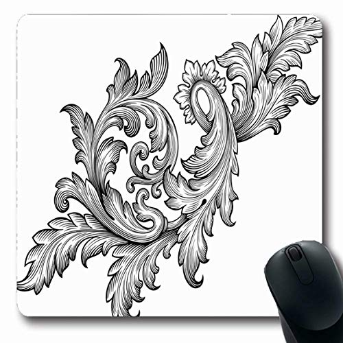- LifeCO Computer Mousepad Classic Filigree Vintage Baroque Leaf Scroll Floral Abstract Border Swirl Heraldic Flower Rococo Oblong Shape 7.9 x 9.5 Inches Oblong Gaming Non-Slip Rubber Mouse Pad Mat