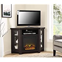 New 4 Foot Wide Fireplace TV Stand - Dark Brown Finish-Corner Unit
