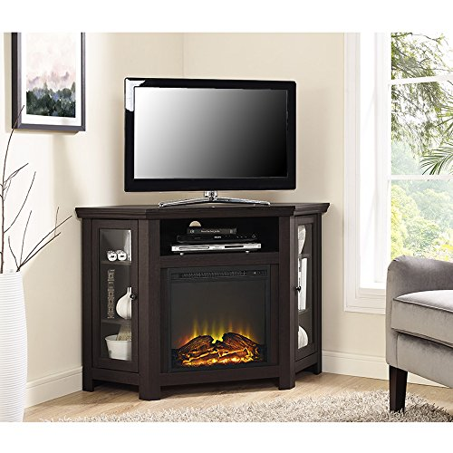 New 4 Foot Wide Fireplace TV Stand - Dark Brown Finish-Corner Unit by Home Accent Furnishings