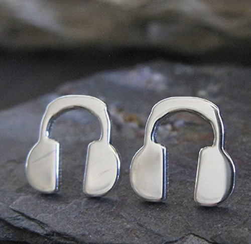 Headphone polished sterling silver stud earrings