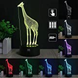 3D Night Light for Kids Giraffe Toy 7 Colors Change with Baby Night Light Lamp Kids Lamp Illusion Birthday Gift 3D Illusion Lamp Desk Table Lamp Optical Effect Lights As a Gift Idea for Girls and boys
