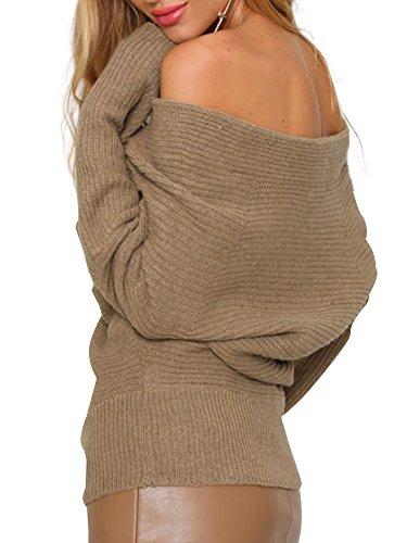 simplEE prendas de vestir las mujeres del otoño de grosor Wrap Front Cuello En V Stretch Jersey Jumper Khaki