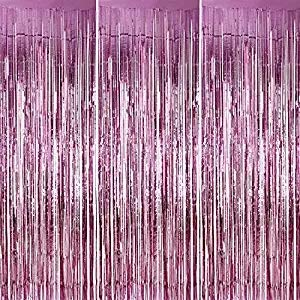 Mermaid Tinsel Curtains Metallic Foil Fringe Curtains Shimmer Curtain for Birthday Wedding Party Christmas Decorations 2019 Christmas Gift, 2 Pack (Pink) ()