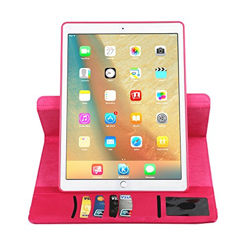 BoriYuan iPad 4&3&2 360 Degree Rotating Stand PU Leather Case Protective Flip Folio Detachable Soft Rubber Cover For Apple iPad 4/ iPad 3/ iPad 2 with Card Slot+Screen Protector+Stylus (Rose Red) Photo #9