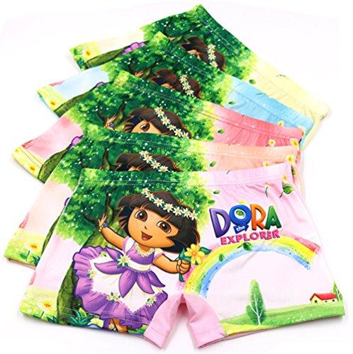 (2-8 Years Girl's Dora Boyshort Cartoon Character Underwear Multicolor 5 Pack)