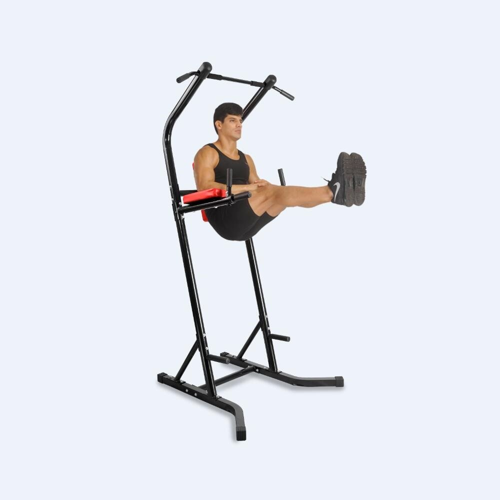 XPH Pull Up Dip Station Power Tower Workout Tower Fitness Station Body Tower Sports Equipment Pull Up Bar Standing Tower Home Fitness Workout Station (BLACK) by XPH