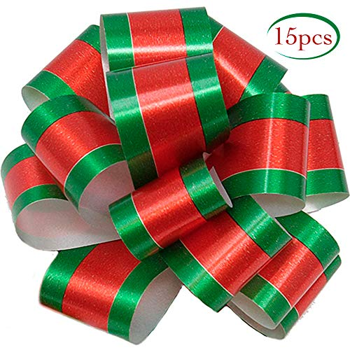 15 Christmas Gift Pull Bows – 5″ Wide – Bows for Presents, Christmas Presents, Birthday, Wrapping