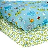 NoJo Little Bedding 2 Count Crib Sheet Set, Ocean Dreams