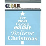 Clear Scraps Stencils, 6 by 6-Inch, Word Christmas Tree