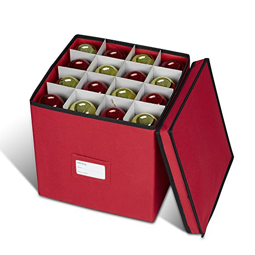 Propik Holiday Ornament Storage Box Chest, with 4 Trays Holds Up to 64 Ornaments Balls, with Dividers Made with Durable 600D Oxford Material (Red)