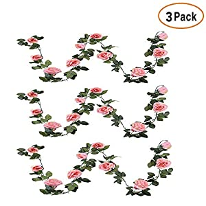 Debolic 3PCS Fake Rose Vine 7.2FT Artificial Flowers Roses Plants Hanging Rose Ivy for Home Hotel Office Wedding Party Garden Craft Art Decor (Pink) 55