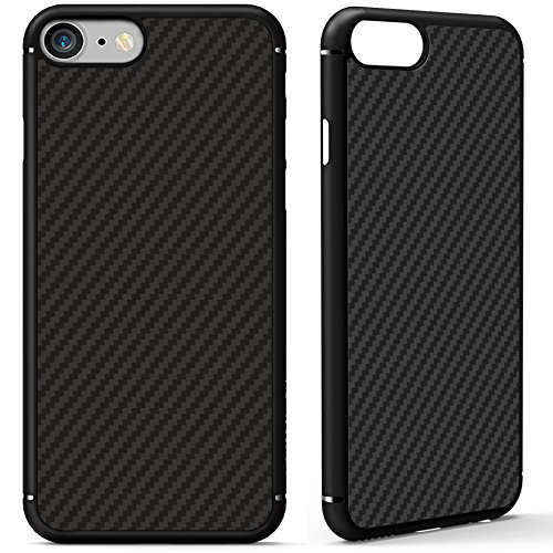 Nillkin Case (iPhone 7 Case, Nillkin [Black] Super Slim Smooth [Carbon Fiber] Armor Case Cover for iPhone 7 4.7-inch, Anti Fingerprints Built-in Metal Plate, Compatible with Magnetic Car Mounts)